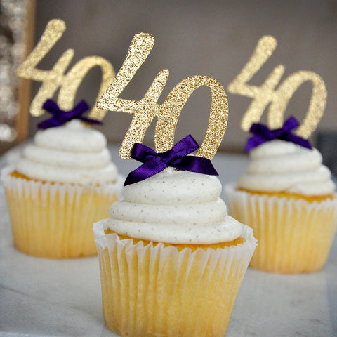 "40th Birthday Party Decor. Ships in 1-3 Business Days. Glitter Gold Number ""40"" Cupcake Toppers with Plum Bow 12CT."