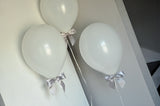 40th Birthday Decorations. Ships in 1-3 Business Days. White Balloons with Silver Bows 8CT + Curling Ribbon.