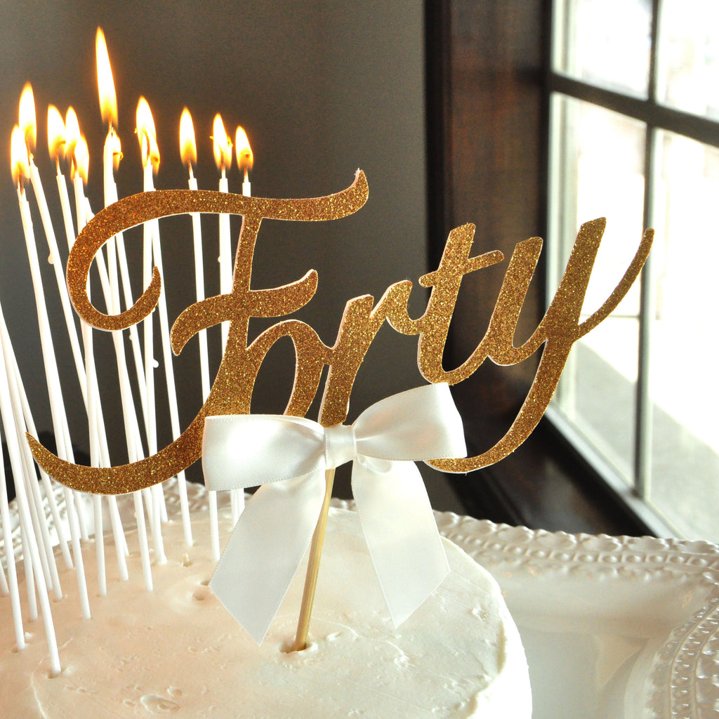 40th Birthday Cake Topper and Candle Combo Handcrafted in 13