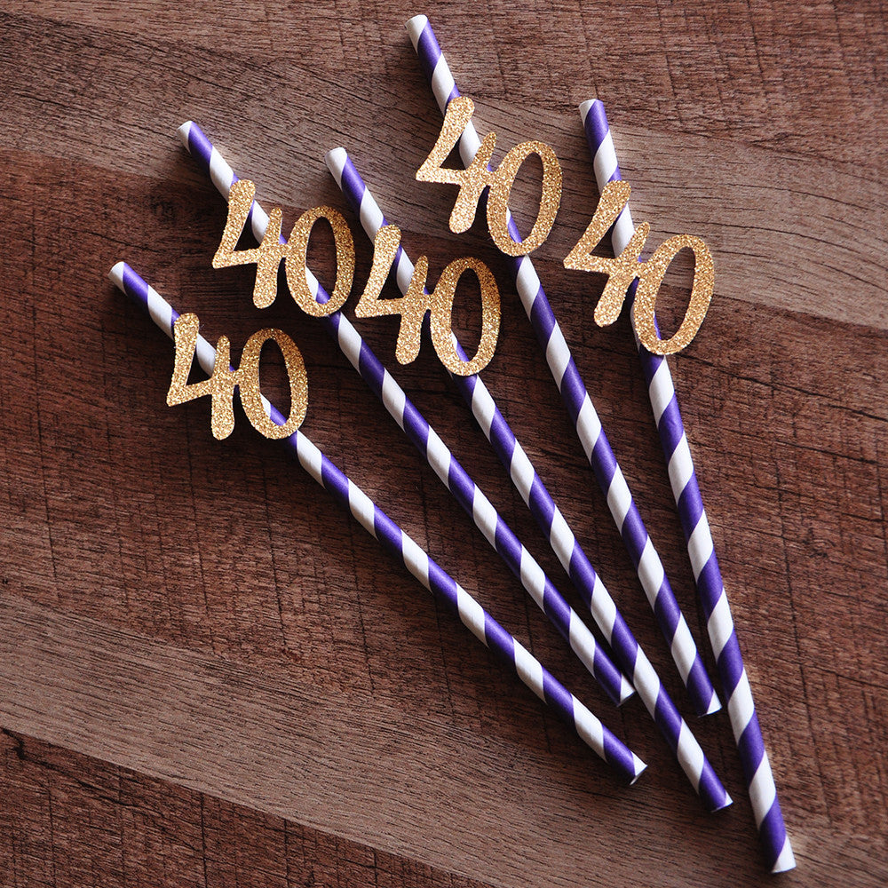 40th Birthday Decoration Straws 10CT Ships In 1 3 Business Days Purp Confetti Momma