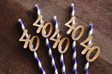 40th Birthday Decoration Straws 10CT. Ships in 1-3 Business Days. Purple Straws with Gold 40.