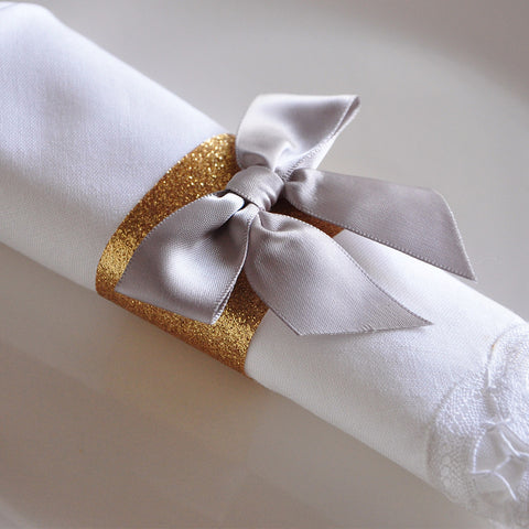 40th Birthday Decoration Napkin Rings. Ships in 1-3 Business Days. Gold Napkin Rings with Bows 10CT.