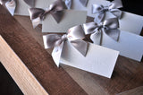 40th Birthday Decoration Place Cards. Ships in 1-3 Business Days. Wood Grain Food Tents with Bows 10CT.