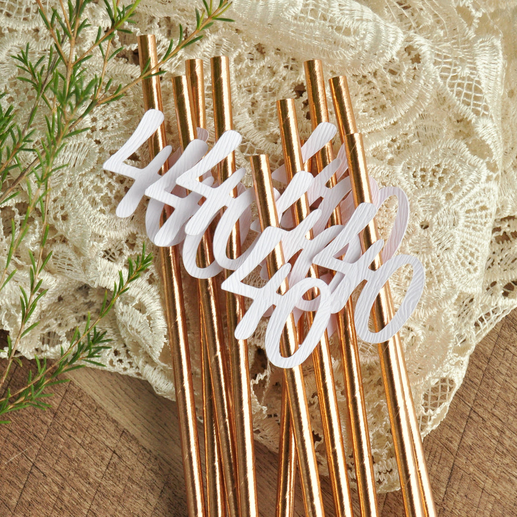40th Birthday Decoration Straws. (1 Set of 10 Straws). Rose Gold Party Decorations. 40th Birthday for Her. 40 and Fabulous.