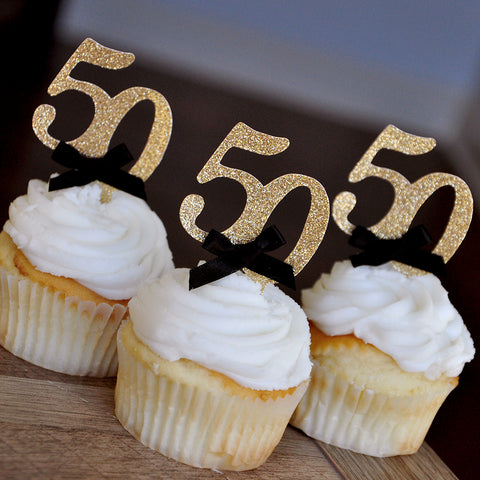 "50th Birthday Party Ideas.  Ships in 1-3 Business Days.  Number ""50"" Cupcake Toppers.  Set of 12."