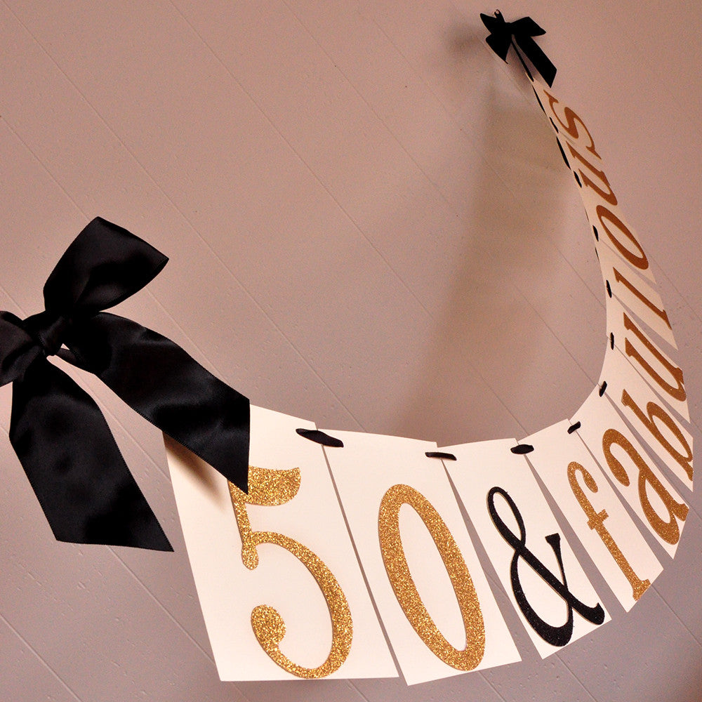 Party Supplies 50th Birthday Bunting Fifty Party Banner