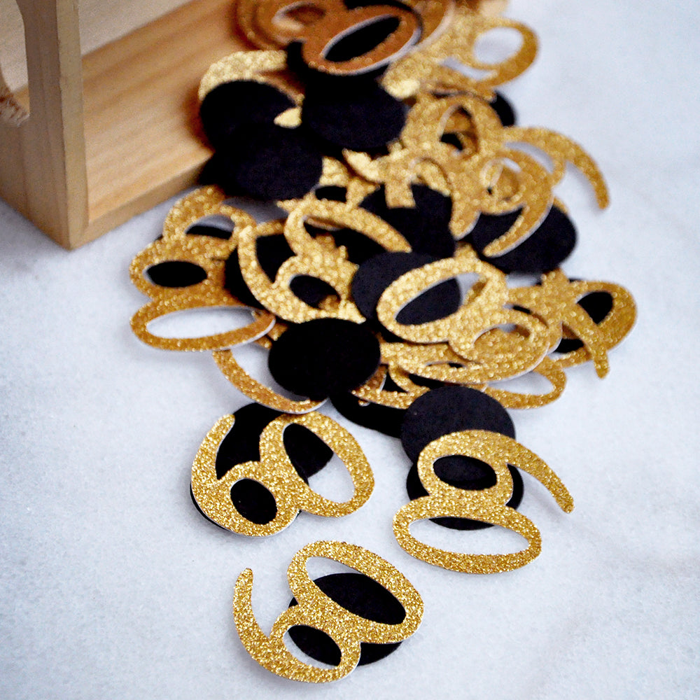 Black and Gold 60th Birthday Decorations. Created in 1-3 Business Days. 60th Birthday Ideas. 60 Number Confetti.