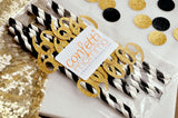 Black and Gold Straws for 60th Party 10CT. Handcrafted in 2-5 Days. 60th Birthday Party Decorations. 60th Birthday Party Supplies.