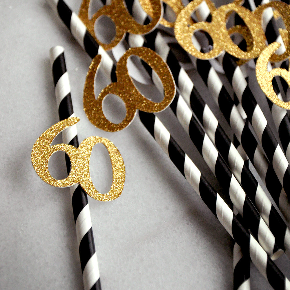 40th Birthday Decoration Straws 10CT Black With Gold 40
