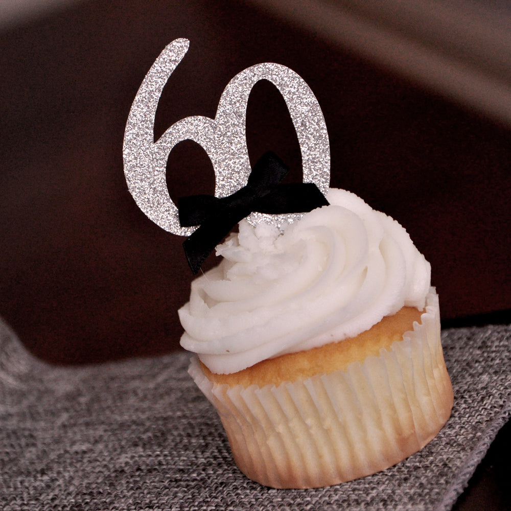 "60th Birthday Party Ideas. Ships in 1-3 Business Days. Number ""60"" Cupcake Toppers 12CT."
