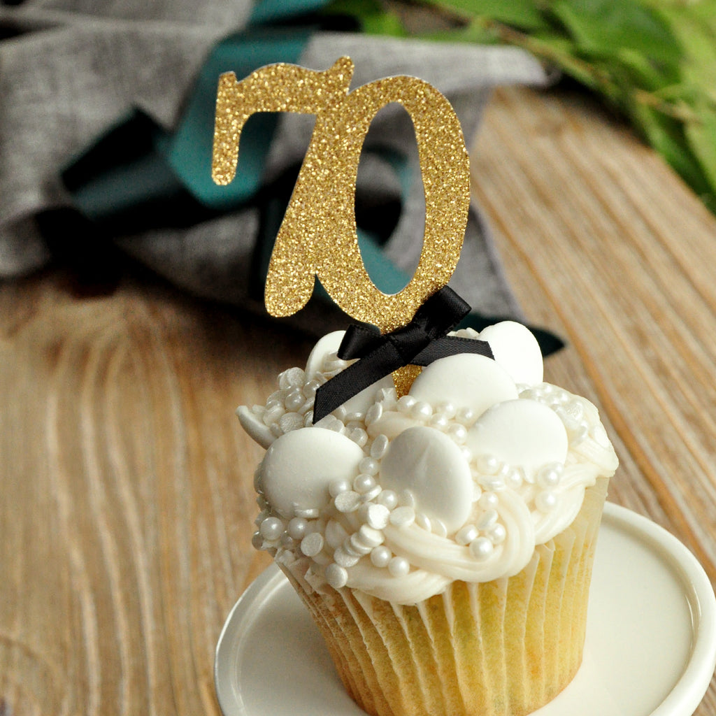 70th Birthday Decoration. Made in 1-3 Business Days. 70th Cupcake Topper. (1 Set of 12 Toppers)