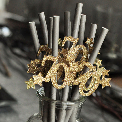 70th Birthday Decoration Straws. (10 Ct) 70 Party Decor for Anniversary. Gray Straws with Gold 70.