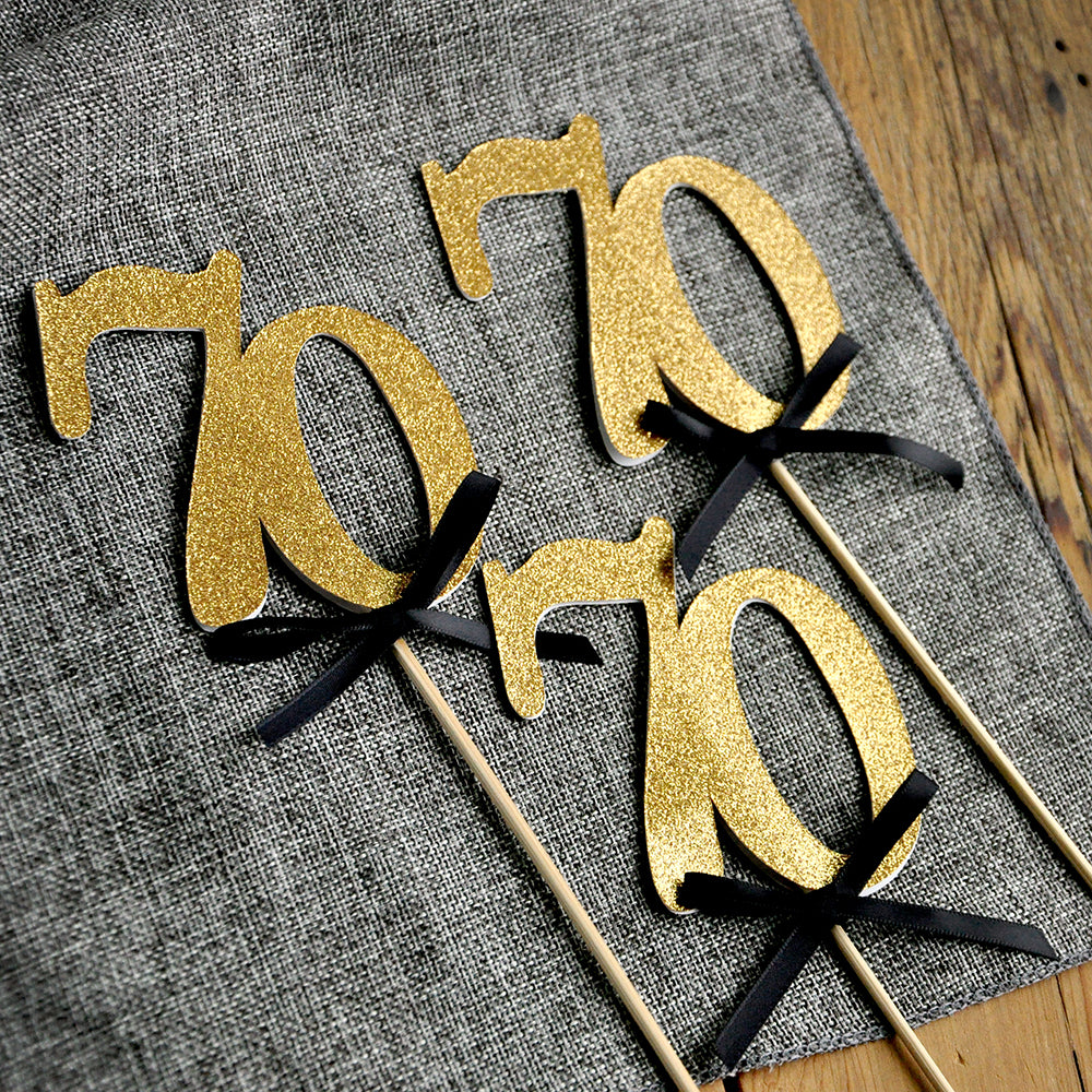 70th Birthday Centerpieces In Gold And Black 70 Party Decorations Confetti Momma