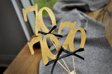 70th Birthday Centerpieces in Gold and Black. 70 Party Decorations. 70th Anniversary Party Centerpiece Set of 3.