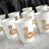 Swan Princess Party Cups in Glitter Champagne (Set of 10 Cups). Paper Party Cups. Swan Princess Party.