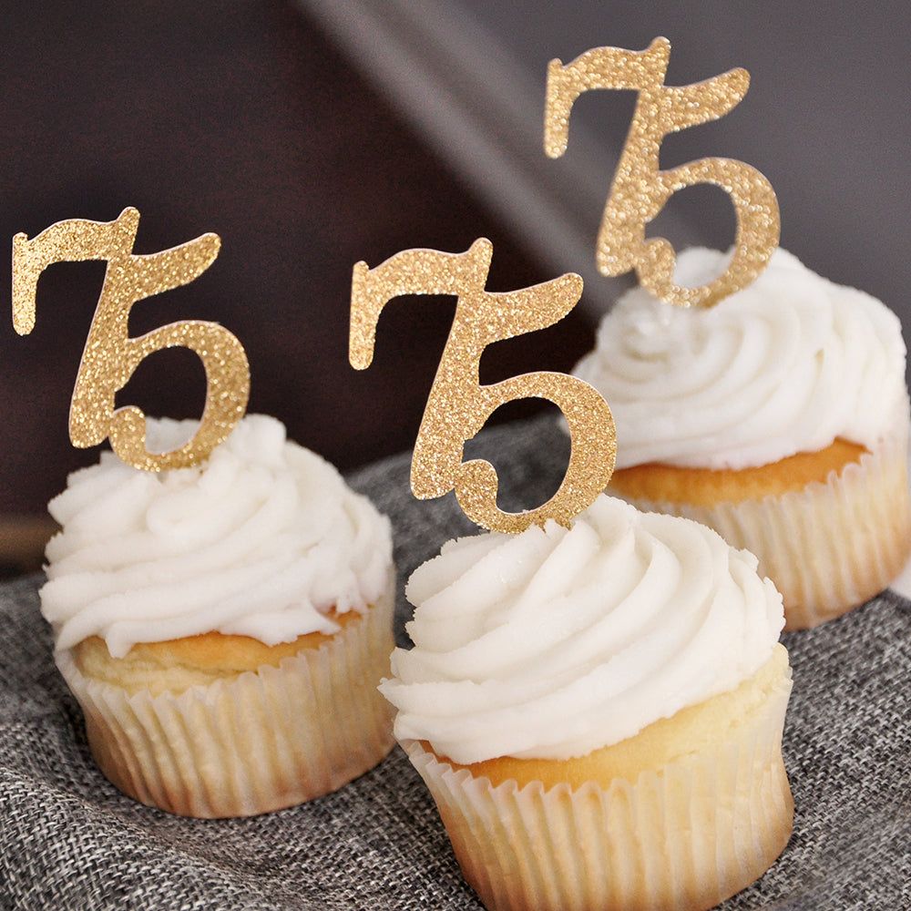 "75th Birthday Party Decor. Handcrafted in 1-3 Business Days. ""75"" Cupcake Toppers 12CT. 75th Anniversary Cupcake Toppers."