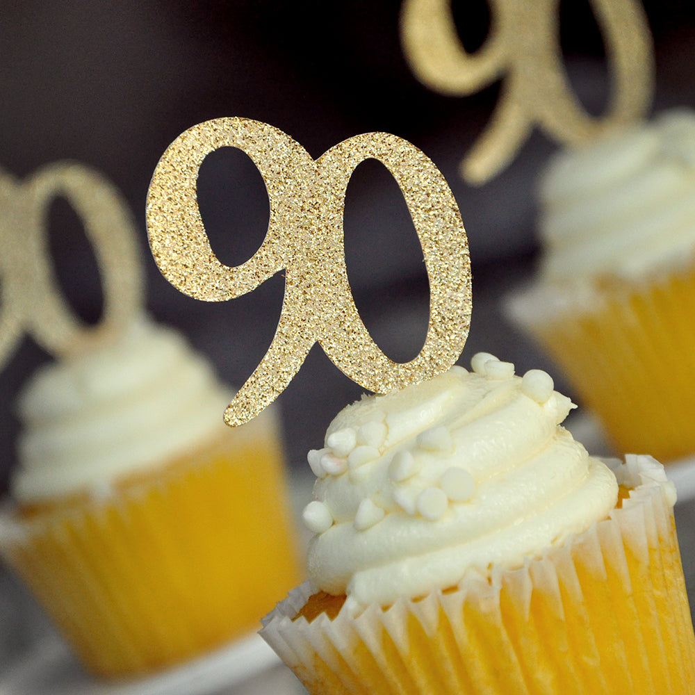 "90th Birthday Party Supplies. Made 1-3 Business Days. ""90"" Cupcake Toppers 12CT. 90 Birthday Party Decor."