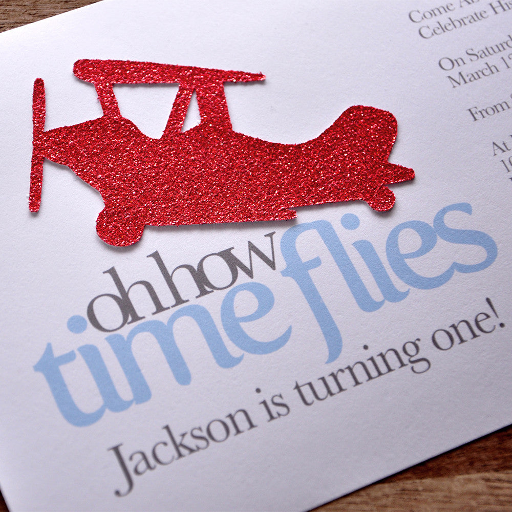 Airplane 1st Birthday Invitations and Envelopes. We Print, Cut, Glue and Ship to You in 1-3 Business Days.