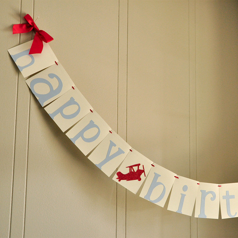 Airplane Birthday Banner.  Ships in 1-3 Business Days. Happy Birthday Banner.