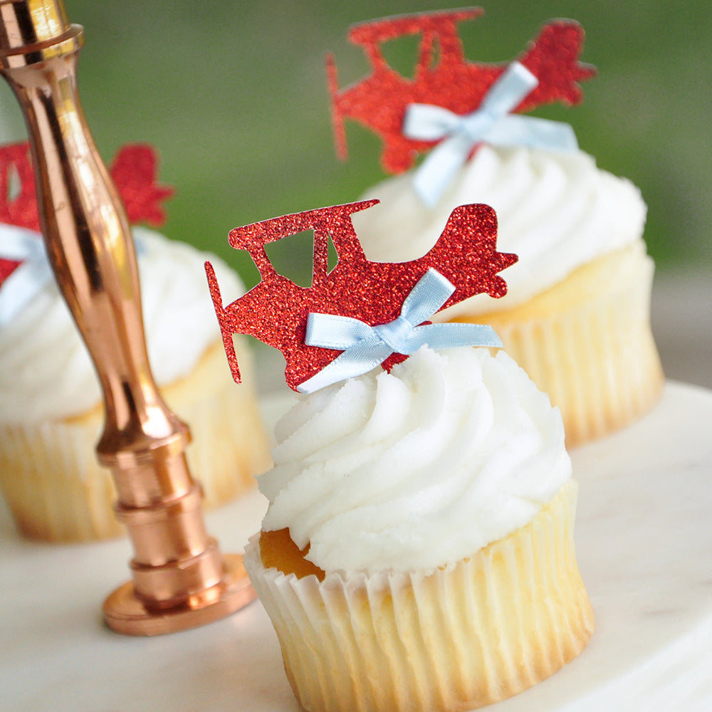 Airplane Cupcake Toppers.  Ships in 1-3 Business Days.  Airplane Birthday Party Decorations. 12 CT.