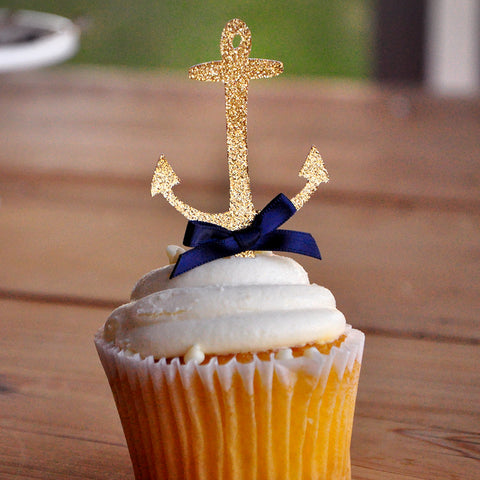 Anchor Cupcake Toppers.  Ships in 1-3 Business Days.  Nautical Baby Shower Decorations.   12CT.