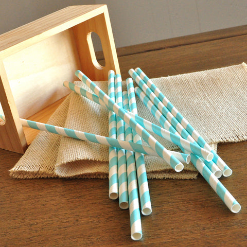 Aqua Party Decor Straws 10CT. Ships in 1-3 Business Days. Paper Party Straws for an Under the Sea Party.