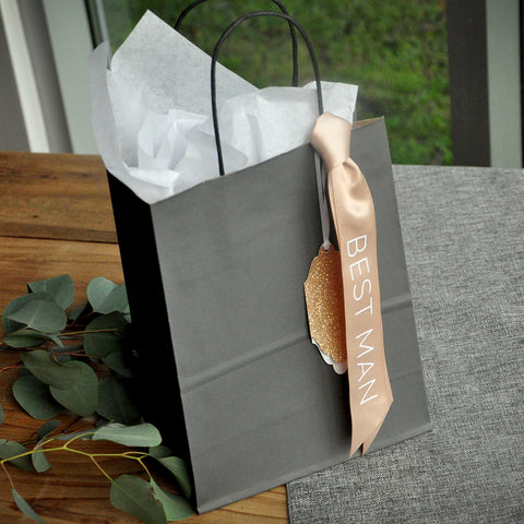 Best Man Gift Bag (Qty. 1). Gray Gift Bags with Tags. Groomsman Gift Bag.