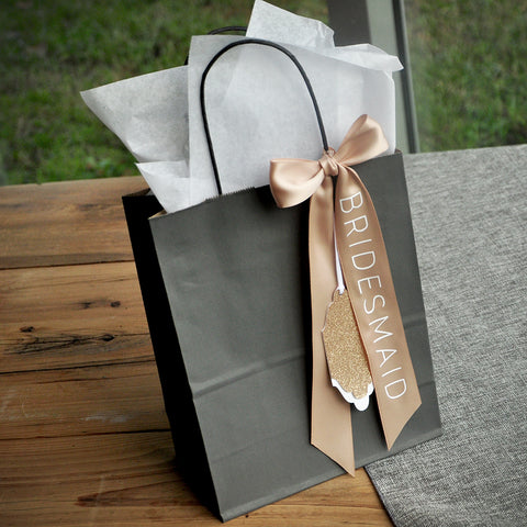 Wedding Party Gift Bags (Qty. 1). Gift Bags with Tags. Bridesmaid Gift Bags. G8KFT.
