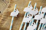 Some Bunny is One Straws in Baby Blue (QTY 10). White Woodgrain Rabbit Straws. Peter Rabbit Party Ideas.