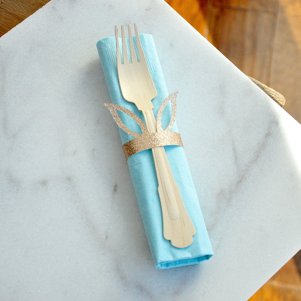 Champagne and Blue Bunny Napkin Rings and Napkins (set for 10). Wooden Forks and Napkins. Peter Rabbit Tablewear.