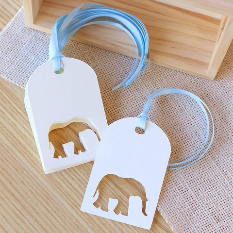 Baby Shower Decorations.  Ships in 1-3 Business Days.  Elephant Favor Tags 10 CT.