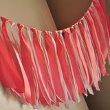 Baby Shower Fabric Garland Backdrop.  Ships in 1-3 Business Days. Coral Party Decorations.