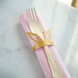 Pink and Gold Bunny Napkin Rings and Napkins (set for 10). Wooden Forks and Napkins. Some Bunny is One Tablewear.