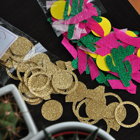 Bachelorette Party Confetti. (2 Pack) Fiesta Engagement Ring and Cactus Party Supplies. Final Fiesta Bridal Shower.