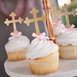 Christening Decorations. Ships in 1-3 Business Days. Baptism Cross Cupcake Toppers 12CT.