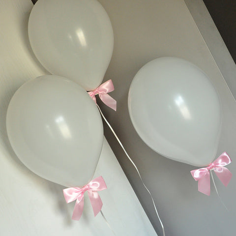 Baptism Decorations for a Girl. Ships in 1-3 Business Days. White Balloons with Baby Pink Bows 8CT + Curling Ribbon.