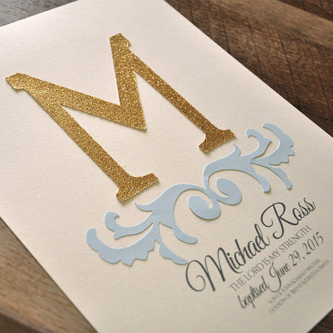 Boy Baptism Gift. Ships in 1-3 Business Days. Personalized Christening Wall Art.