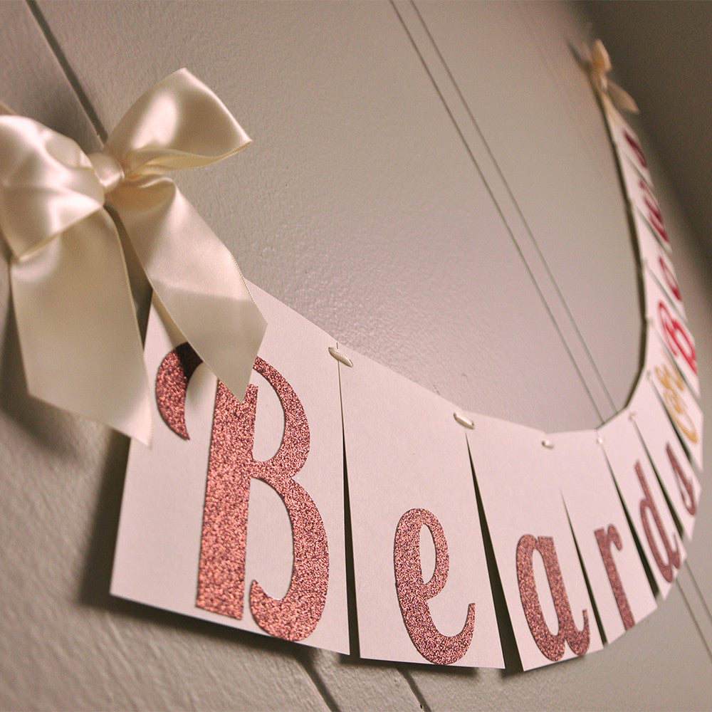 Gender Reveal Party Decorations. Ships in 1-3 Business Days. Beards or Bows Banner.