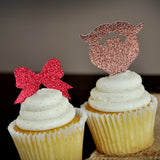 Gender Reveal Party Decor. Ships in 1-3 Business Days. Beards or Bows Cupcake Toppers 12CT.