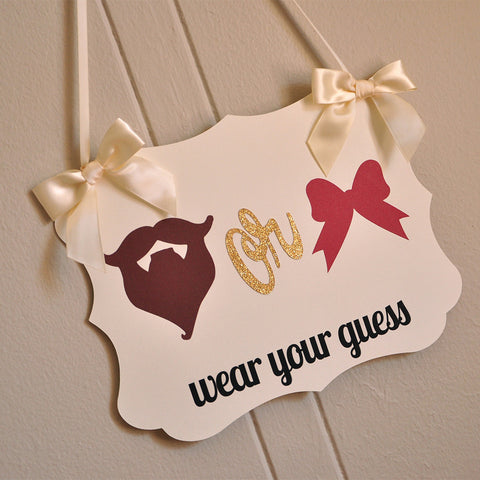 Gender Reveal Party Decorations. Ships in 1-3 Business Days. Beards or Bows Wear Your Guess Sign.