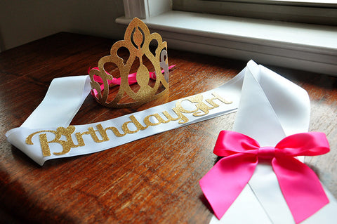 Birthday Crown and Sash Set. Ships in 2-5 Business Days. Hot Pink and Gold Birthday Party Decorations.