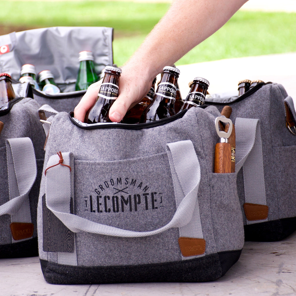 Pre-Order Only. Available Mid-January. Groomsmen Gift Bag.  (Qty. 1). Best Man Gift Ideas. Black Vinyl Personalized Groomsmen Cooler Gift.  Groomsmen Personalized Cooler with Bottle Opener. S12WC.