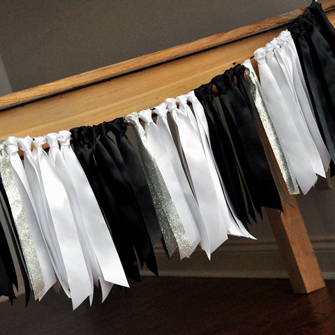 Graduation Ribbon Garland. Handcrafted in 1-3 Business Days. Black, White, and Silver Ribbon Garland. Black and Silver Party Decor.