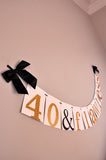 40th Birthday Decoration.  Ships in 1-3 Business Days.  40 & Flawless Banner.