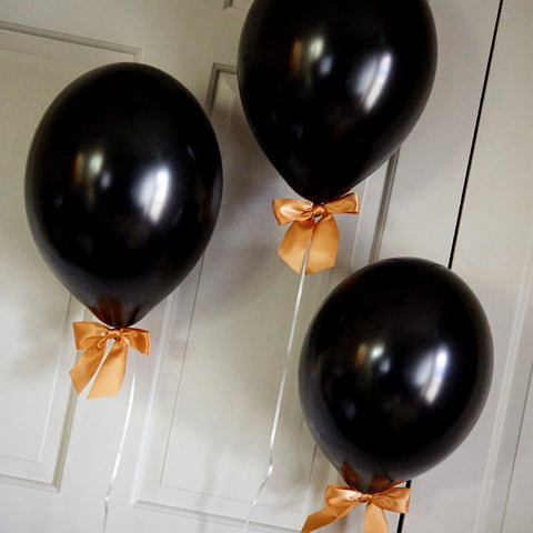 Black and Gold Party Decor Balloons and Bows.  Ships in 1-3 Business Days.  Black Balloons with Gold Bows 8CT + Curling Ribbon.