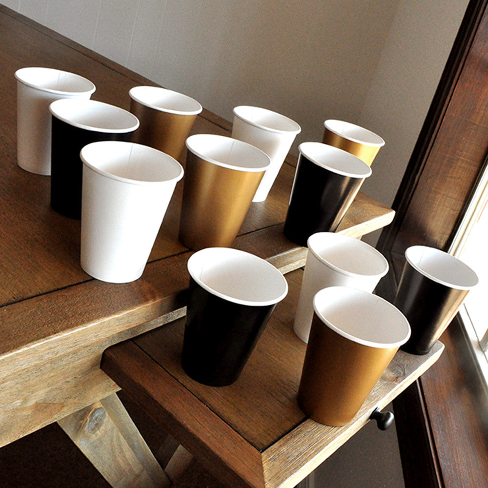 Black and Gold Party Supplies Paper Party Cups. Ships in 1-3 Business Days. 50th Birthday Cups.