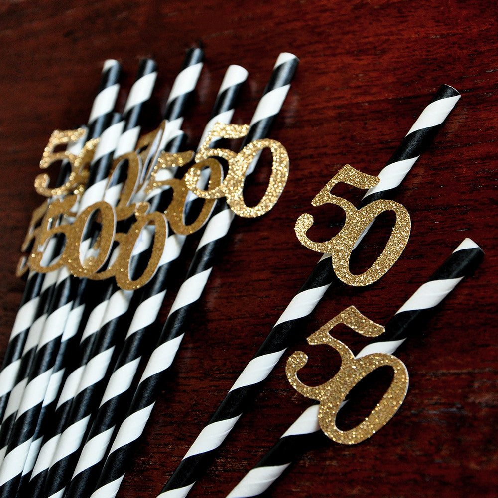 50th Birthday Party Ideas Black And Gold Straws For 10CT Ships In 1 3 Business Days
