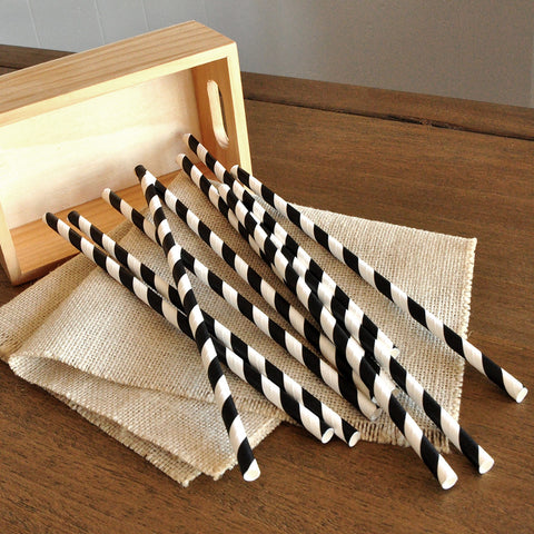 Black and White Paper Straws 10CT. Ships in 1-3 Business Days. Party Straws.