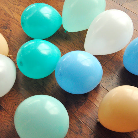 Blue Spring Balloon Mix for Boys. Peter Rabbit Party Balloons. Blue Ombre Mixed Color Balloons. 16CT.