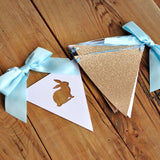 Peter Rabbit Backdrop Bunting Banner. Champagne Gold and Baby Blue Bunny Bunting Banner. Individual 6.5 foot strand.